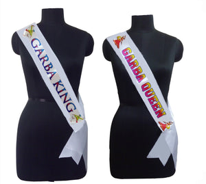 Garba King & Queen Sashes Combo