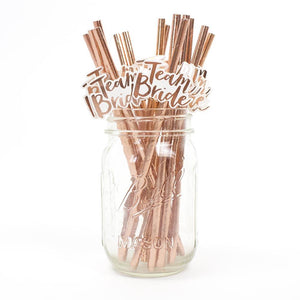 Team Bride Party Straws (20pcs.) Rose Gold
