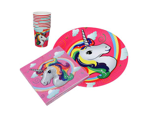 Unicorn Theme Disposable Paper Plates (10pcs) Paper Cups (10pcs) Paper Napkins (20pcs) Set
