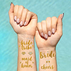 Bride Tribe Cheers Maid of Honor (6 pcs) Gold Temporary Tattoos Sticker
