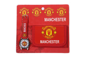 Manchester United Analog Watch and Designer Wallet Combo