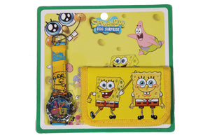 Spongebob Watch and Designer Wallet Combo