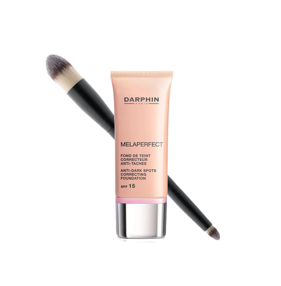 Melaperfect foundation fra Darphin, samt Dual Foundation Camouflage Brush fra Glo