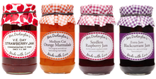 Load image into Gallery viewer, Mrs Darlingtons Jam Selection - Raspberry, Strawberry, Blackcurrant and Orange Marmalade