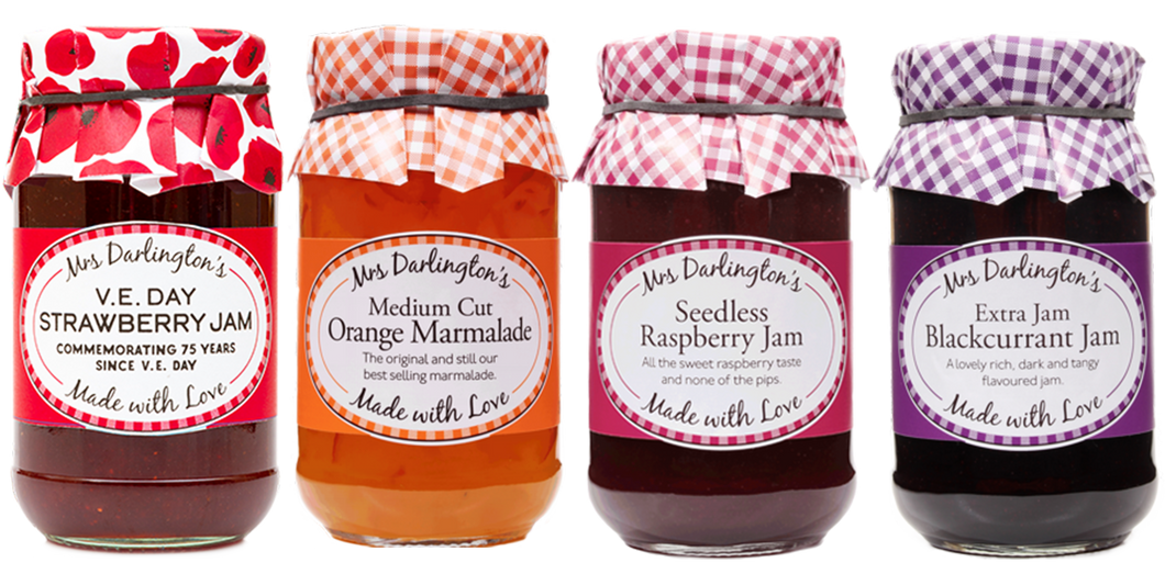 Mrs Darlingtons Jam Selection - Raspberry, Strawberry, Blackcurrant and Orange Marmalade