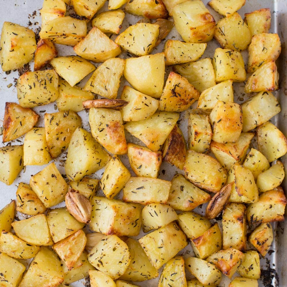 Crispy Garlic Potato Cubes