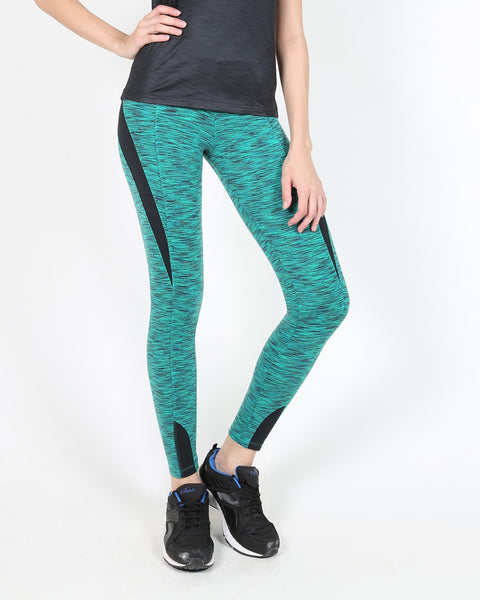 Green Black Textured Tights