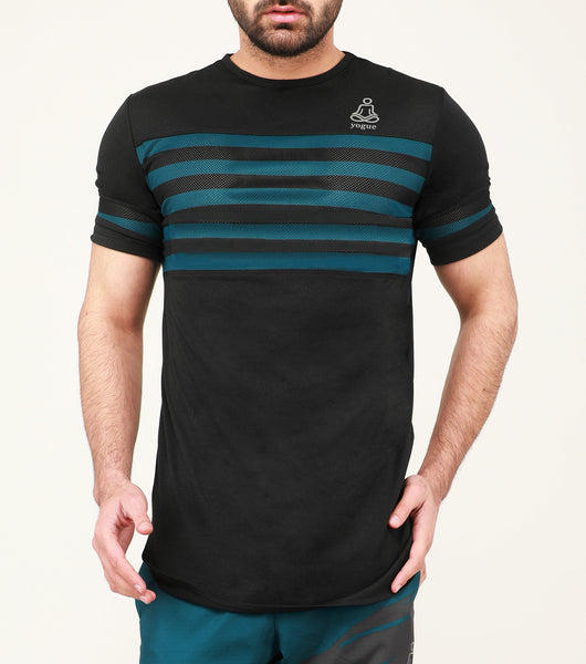 Black Green Stripes Long T-Shirt