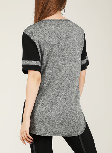 Grey Black Long T-Shirt