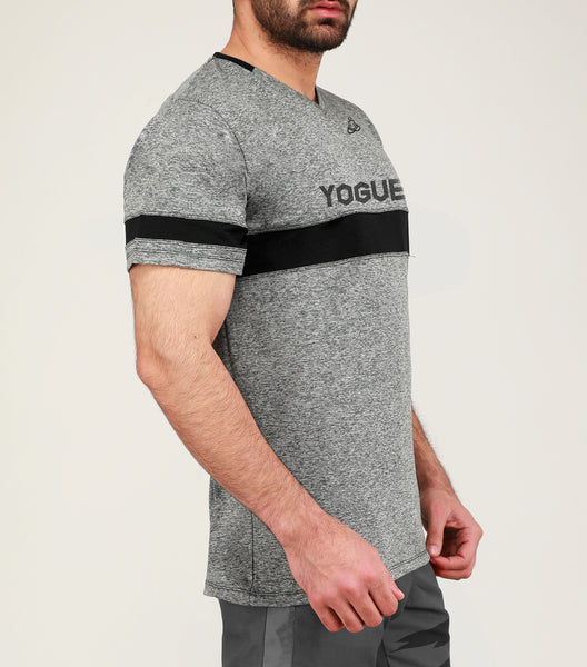 Grey & Black Stripe V-Neck T-Shirt