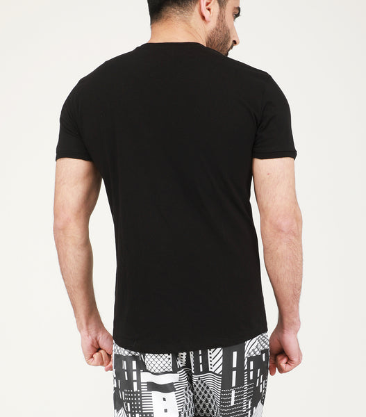 Yogue Active Black V-Neck Cotton T-Shirt