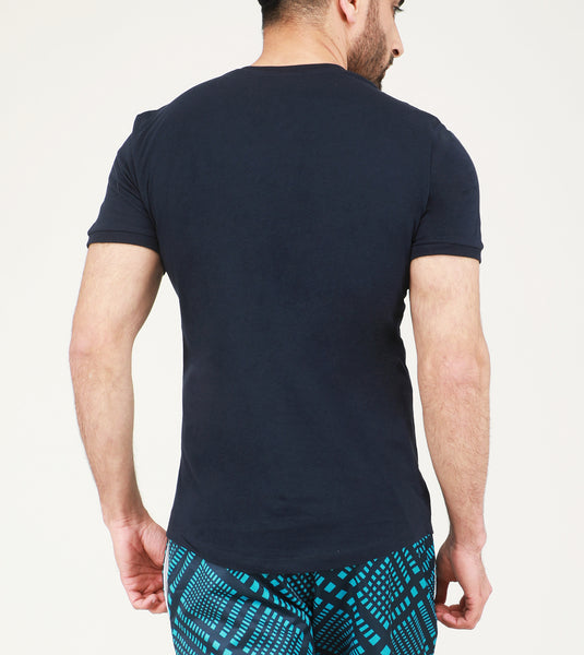 Yogue Navy V-Neck Cotton T-Shirt