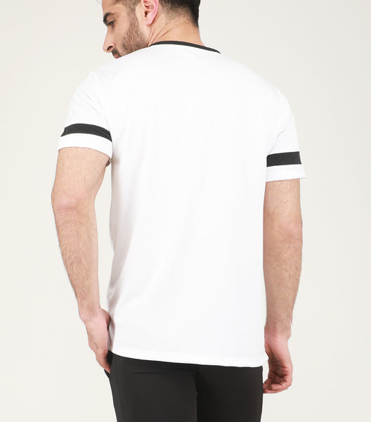 White & Black Stripe V-Neck T-Shirt