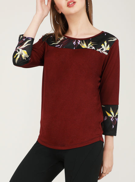 Cherry Red Floral Full Sleeve T-Shirt
