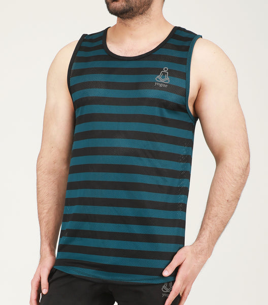 Black Green Stripes Mesh Gym Vest