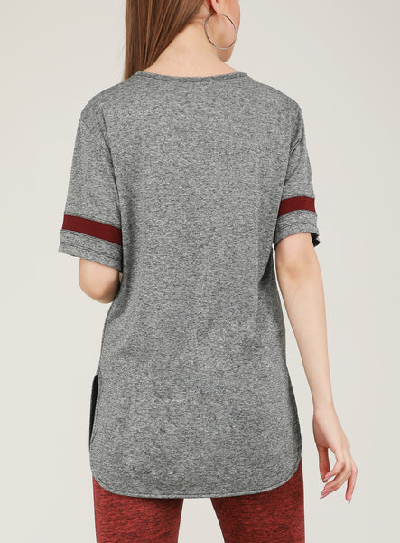 Grey Maroon Long T-Shirt