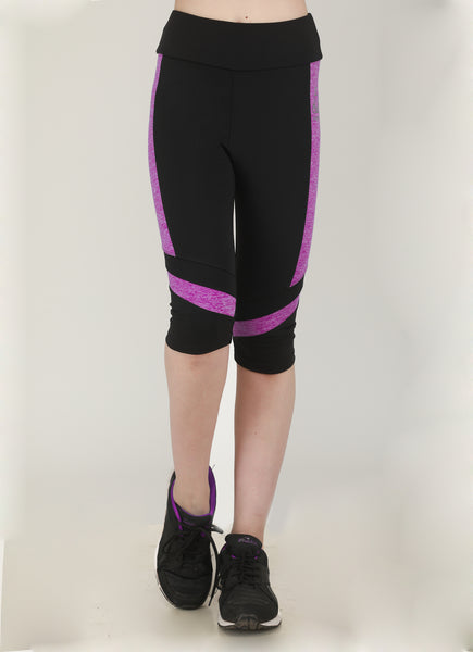 Black Light Purple Texture Capris