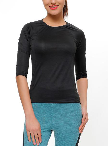 Plain Black Quarter Sleeves Top