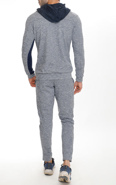 Grey Texture Tracksuit Navy Stripes