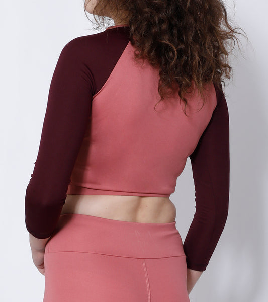 Shop The Look - Crop Zipper + Leggings - Rosegold