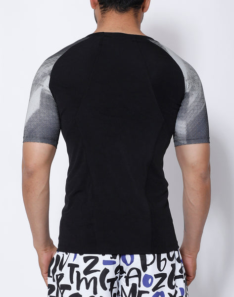 Black & Grey Microdots Compression T-Shirt