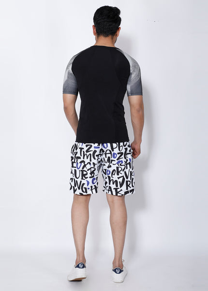 Black & Blue Letters Boardshorts