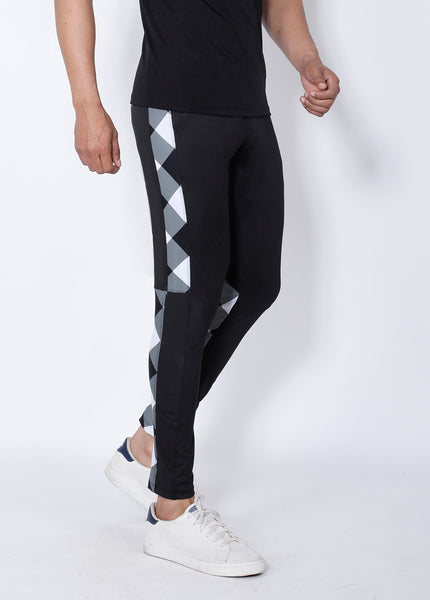 Black & White Diagonal Slim-Fit Trackpants