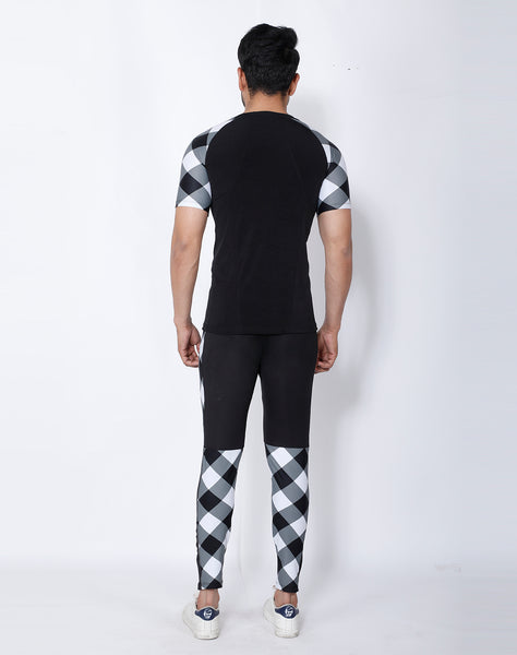 Black & White Diagonal Compression T-Shirt