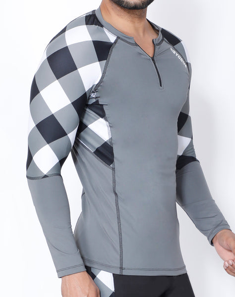 Grey & White Diagonal Full Sleeve Compression