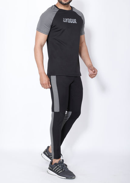 Black Grey Stripes Slim-Fit Trackpants