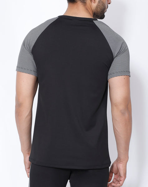Black Grey Stripes Raglan T-Shirt