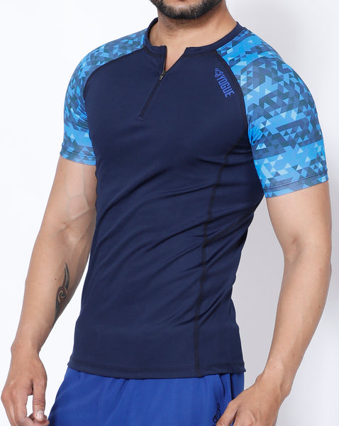 Navy Triangles Compression T-Shirt