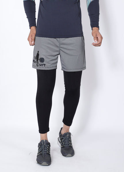 Grey Deadlift 2-in-1 (Shorts+Tights)