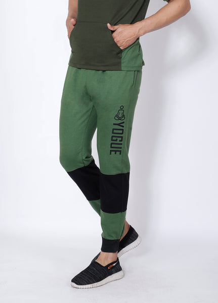 Green Black Colorblock Terry Joggers