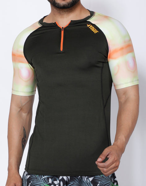Olive Orange Compression T-Shirt