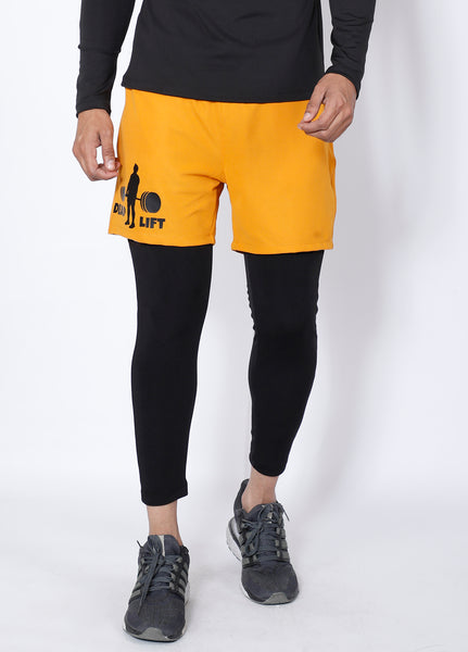 Black & Yellow Deadlift 2-in-1 (Shorts+Tights)