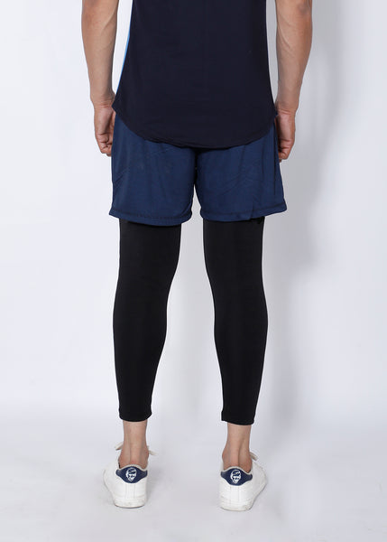 Black & Navy Deadlift 2-in-1 (Shorts+Tights)