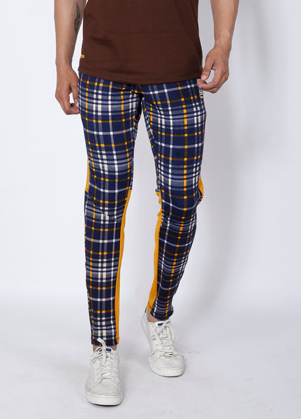 Navy Yellow Checked Slim-Fit Trackpants