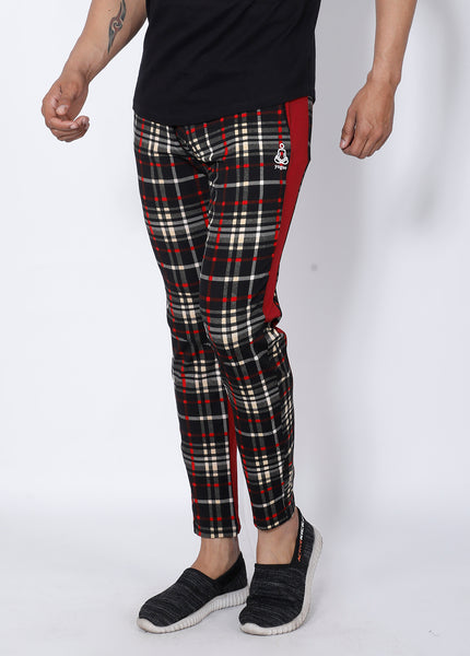 Black Red Checked Slim-Fit Trackpants