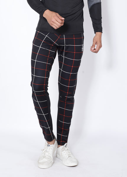 Black Checked Slim-Fit Trackpants
