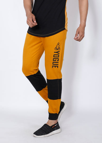 Yellow Black Colorblock Terry Joggers
