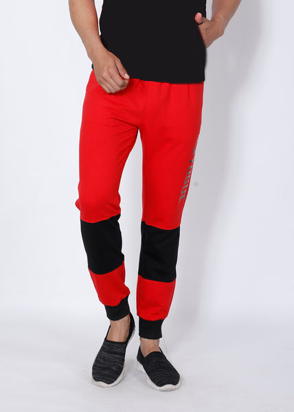 Red Black Colorblock Terry Joggers