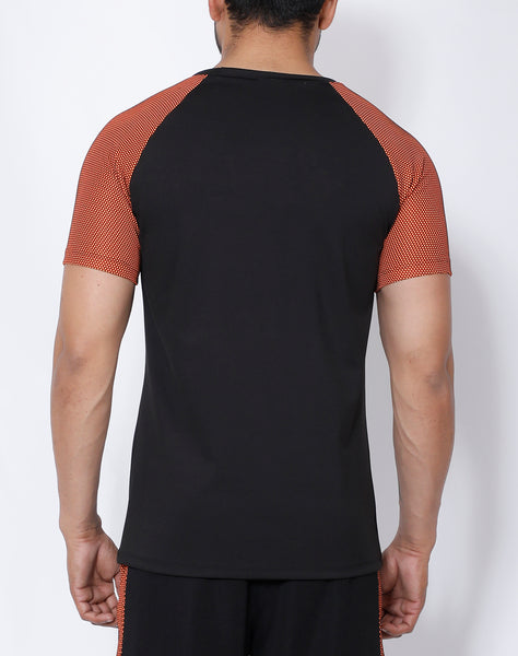 Black Orange Mesh Raglan T-Shirt