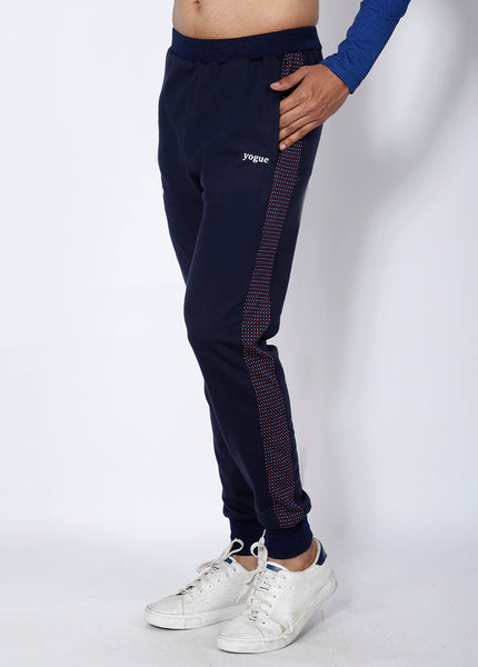 Navy Red Microdots Terry Joggers