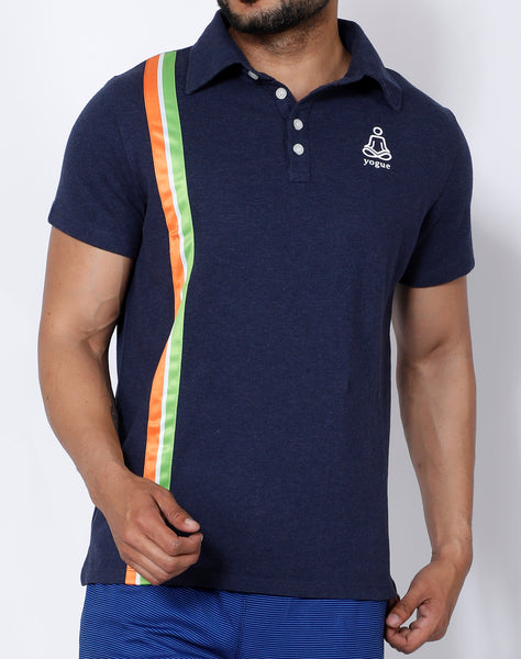 Navy Tricolor Cotton Polo
