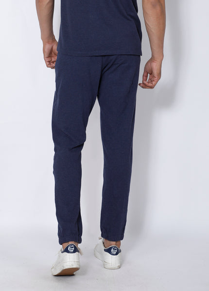Navy Texture Cotton Joggers