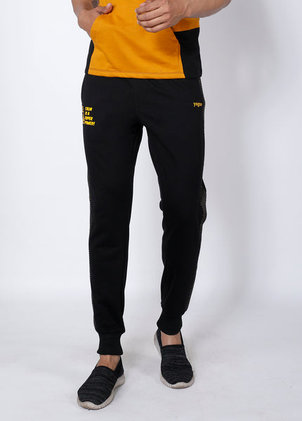 Black Yellow Microdots Terry Joggers