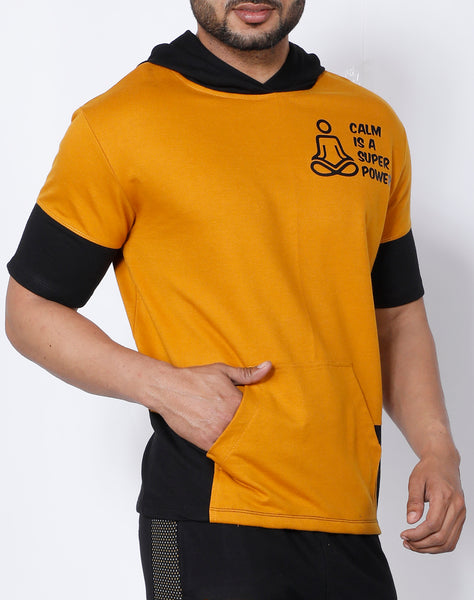 Mustard Black Hooded T-Shirt