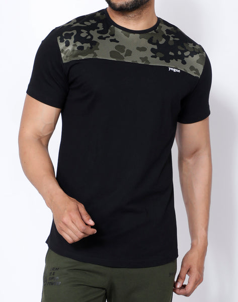 Black Army Curved-Hem T-Shirt