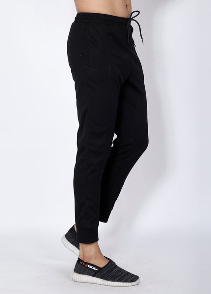Solid Black Slim Fit Trackpants